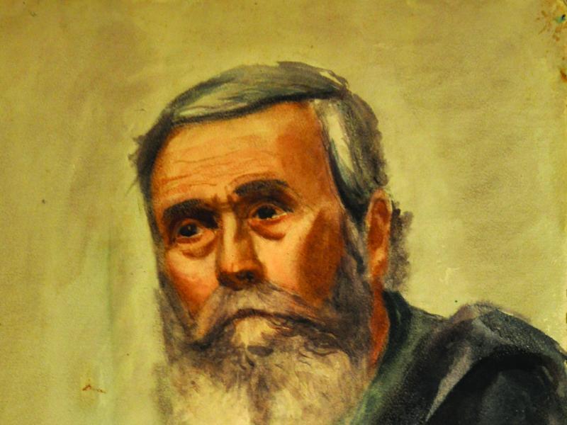 Karol Badura, Portret Starego Mężczyzny, 1945, akw., pap., wł. pryw., fot., J.W. Sienkiewicz