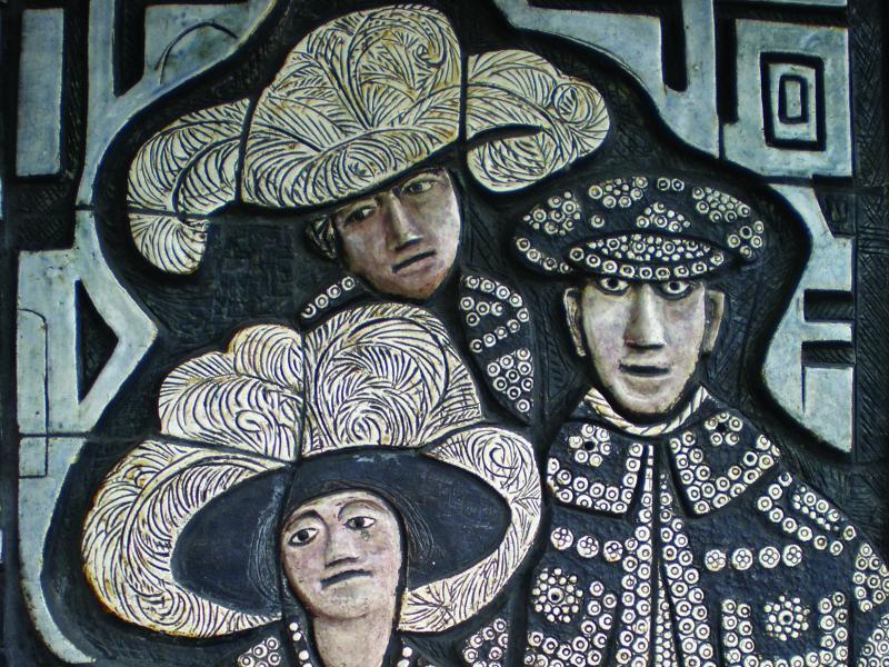 Adam Kossowski, Wjazd Króla Karola II do Londynu, Dekoracja ceramiczna na budynku Civic Centret, Londyn, fot. JWS