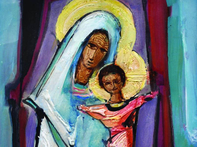 Tadeusz Wąs, Madonna z Dzieciątkiem, akryl, pap., ok. 1965, wł. pryw, fot. J.W. Sienkiewicz