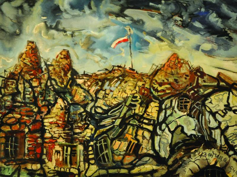 Karol Badura, Monte Cassino, 1944, tech. mieszana, wł., pryw., fot., J.W. Sienkiewicz