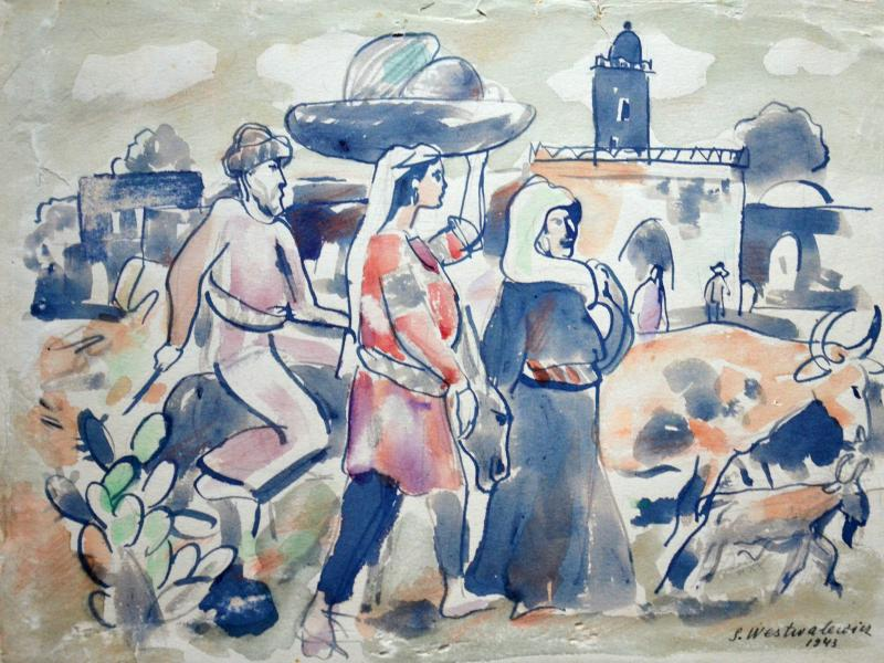 4. Stanisław Westwalewicz, Rodzina Arabów palestyńskich, akwarela, pap, 1943, wł. pryw., fot. JWS