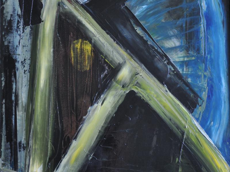 43. Tadeusz Ilnicki, Kompozycja abstrakcyjna, ol., płyta, ok. 1980, wł. pryw., fot. JWS