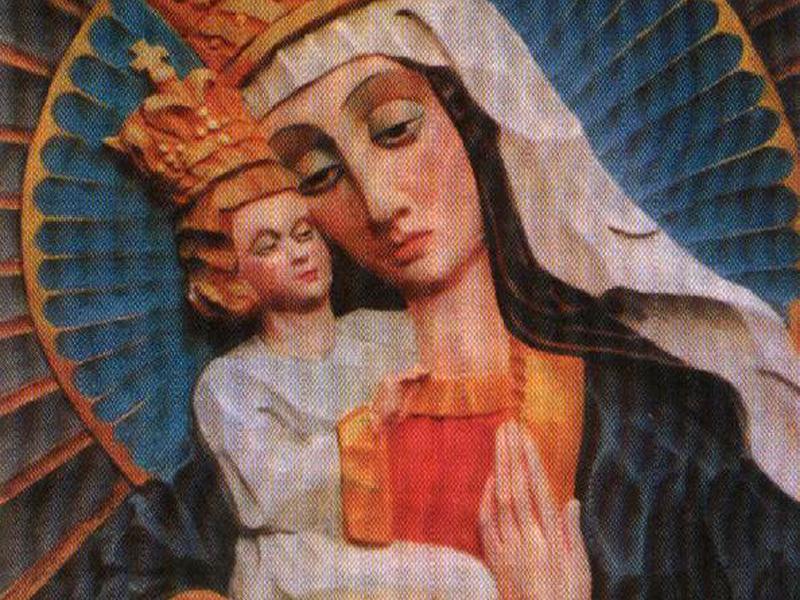1. Tadeusz Zieliński, Matka Boska Kozielska, 1941, płaskorzeźba kolorowana, fot. arch. JWS