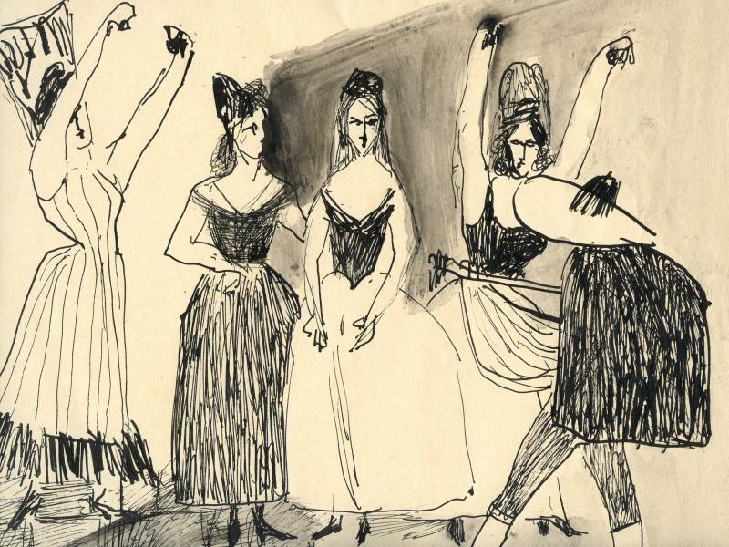 36. Janusz Eichler, Taniec hiszpański, tusz, 30x35, wł.R. Demel