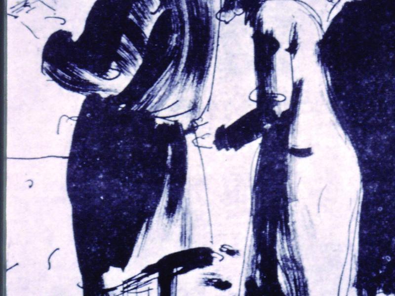 40. Zygmunt Kowalewski, Ściana płaczu, rysunek, 15x10 in