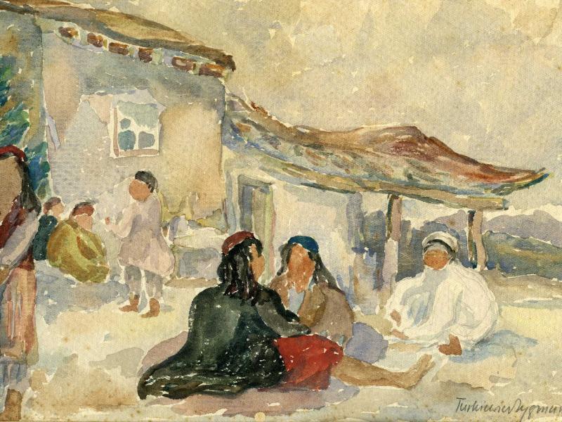 Zygmunt Turkiewicz, w irańskiej wiosce, akw., pap., 1942, wł. Archiwum Emigracji UMK ,fot., J.W. Sienkiewicz
