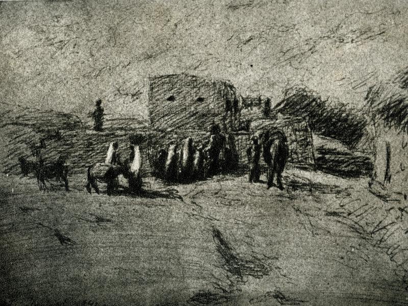 Henryk Siedlanowski, Pejzaż palestyński 1943, rys., pap., fot., arch. J.W. Sienkiewicz