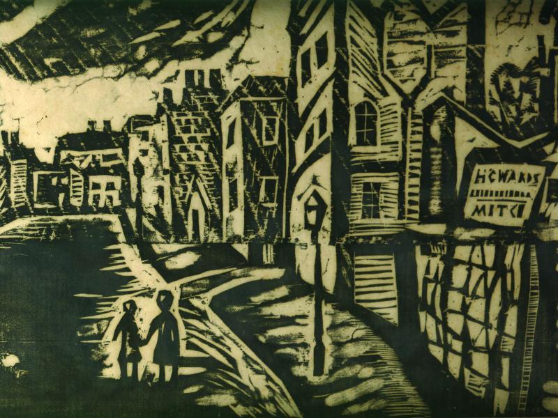 Aleksander Werner, Ulica, papier, grafika, ok. 1960, wł. pryw., fot. J.W. Sienkiewicz
