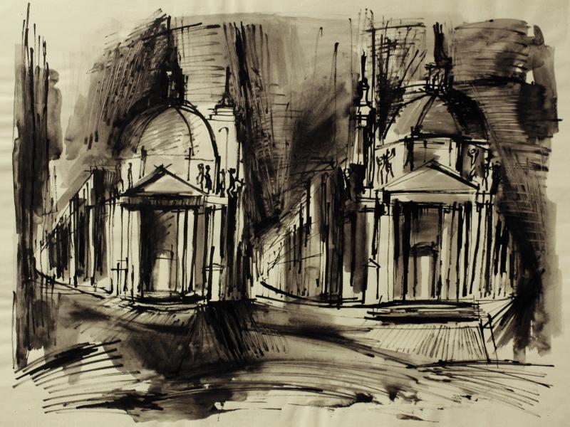 Jan Głowacki, Piazza dell Popolo, tusz, pap., ok. 1949 fo. arch. J.W. Sienkiewicz