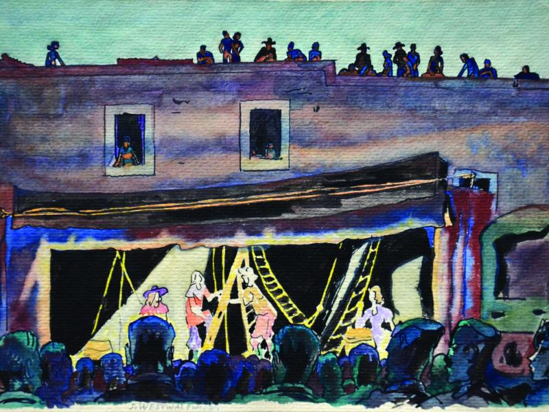 Stanisław Westwalewicz, Teatr na południu Włoch, akryl, akwarela, karton, ok. 1944, wł. pryw., fot. J.W. Sieniewicz